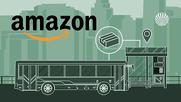 ارسال و تحویل سفارشات آمازون از طریق اتوبوسهای عمومی