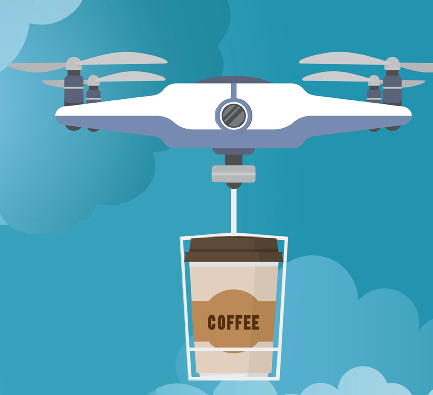 پهپاد حمل فنجان قهوه که میتواند تشخیص دهد شما چه موقع نیاز به نوشیدنی دارید!