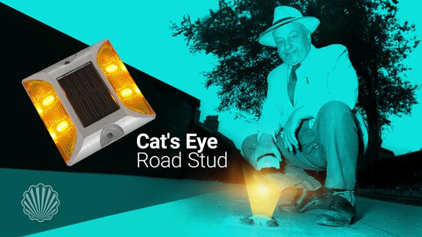 اختراع شبرنگ ترافیکی (گلمیخ چشم گربهای)